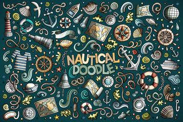 Set of marine, nautical objects and symbols