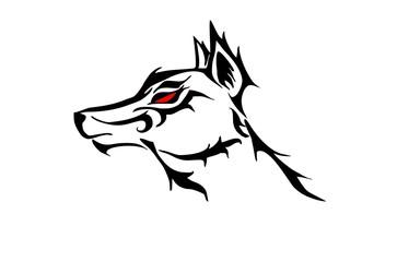 wolf head tribal.