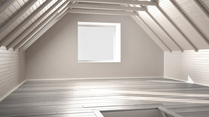Empty room, loft, attic, parquet wooden floor and wooden ceiling beams, architecture white interior design