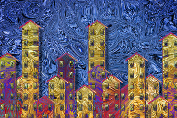 Public housing concept image with an urban skyline painted on a abstract background - I'm the copyright owner of the graffiti images used in this picture