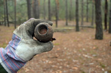 Soviet 50-mm mortar shell of WWII.Found with metal detector near Kiev.