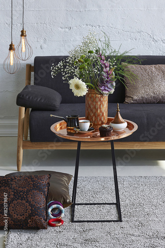 Dark Living Room Style With Sofa And Middle Table Concrete Wall Decoration