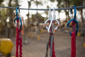 Carabiner hanging on rope