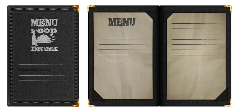 restaurant menu notebook in black leather binding