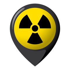 Icon representing radiation location, product location and radioactive debris. Ideal for catalogs of institutional materials