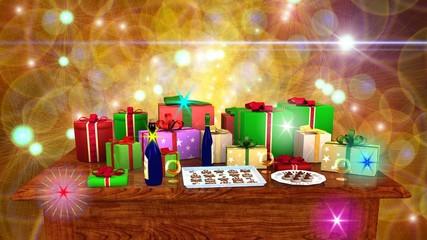 Tavolo rettangolare in legno con pacchi regalo e dolciumi
