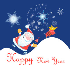 New Year celebration card with Santa Claus and dog