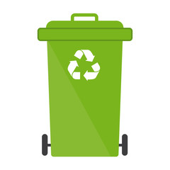 Garbage bin green recycle logo sign symbol