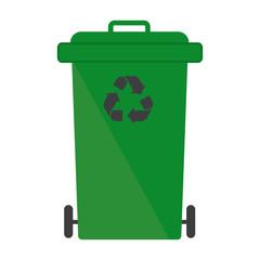 Garbage bin green recycle logo sign symbol
