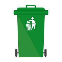 Garbage bin green throw away sign symbol