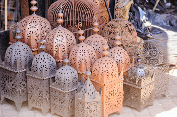 Handmade metal and ceramic lanterns for sale in the Souks, Marrakech, Morocco