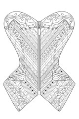 Coloring  page for adults. Doodle corset. Art Therapy. Line art illustration.