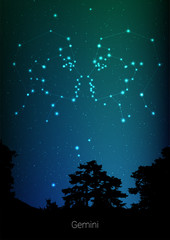Gemini zodiac constellations sign with forest landscape silhouette on beautiful starry sky with galaxy and space behind. Gemini horoscope symbol constellation on deep cosmos background. Card design
