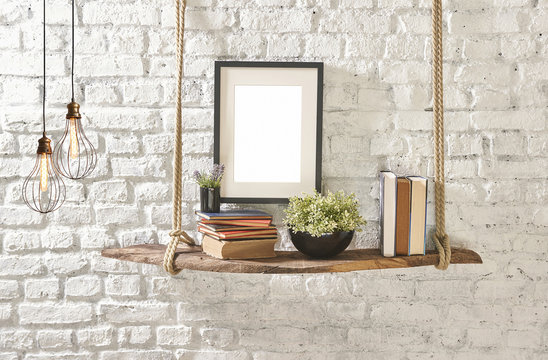brick wall drift wood shelves and frame concept decor different style