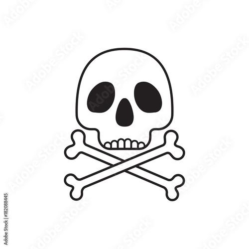 Skull With Crossbones Symbol Isolated On White Background Stock