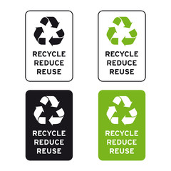Recycle reduce reuse logo sign set