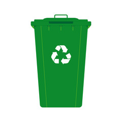 Green garbage bin container