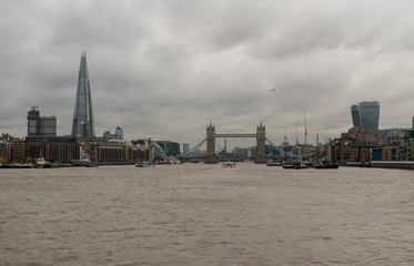 Panoramic view of the Tower Bridge in London viewed from the Thames river in late October