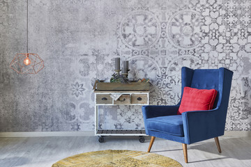 Grey wall decoration retro wallpaper with home objects living room style
