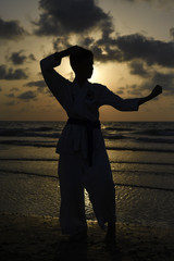 Karate fighter at sunset on the beach