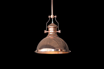 Vintage ceiling lamp isolated on black  background