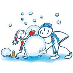Strichmännchen als Vater und Sohn beim Schneemann bauen