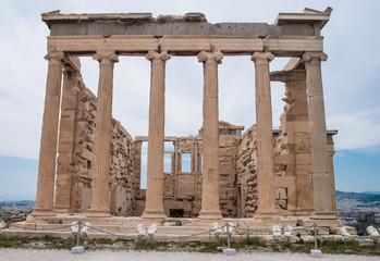 Facade of Parthenon in Acropolis sacred hill in Greece