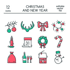 Christmas and New Year icons made in modern line style. Colored vector christmas symbols.