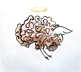 Brain angel flying with wings and nymphs