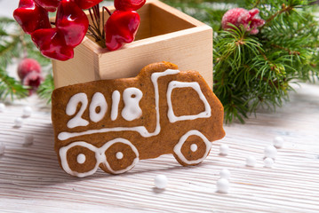 New Year decoration gingerbread truck with Year 2018