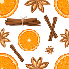 Cinnamon stick, star anise and slices of oranges. Isolated illustration on white background. Seamless illustration.