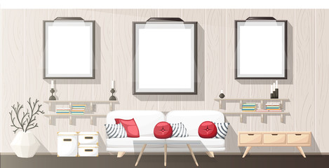 Interior Design. Modern living room with grey sofa, vase, shelf with books and nightstand. Apartment interior in the flat style. Isolated vector illustration cozy interior on the white background