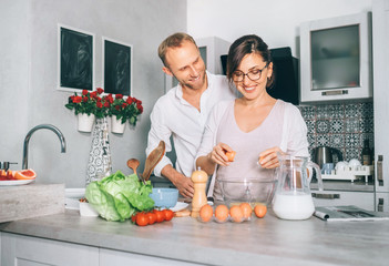 Simply family moments - couple prepare breakfast