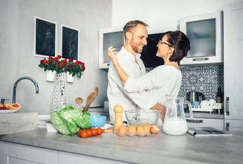Simplicity of everyday life - marrieds prepare breakfast