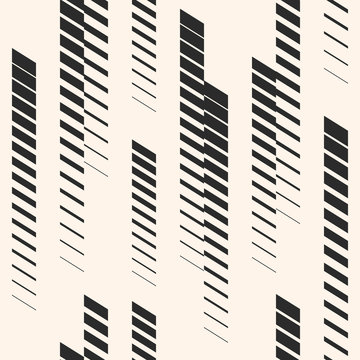 Abstract geometric seamless pattern with vertical fading lines, tracks, halftone stripes. Extreme sport style illustration, urban art. Trendy monochrome graphic texture. Sports pattern. Urban pattern.