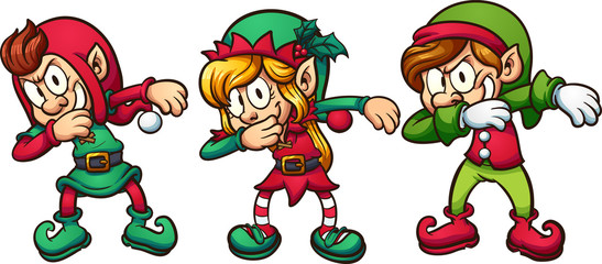 Cartoon dabbing Christmas elves. Vector clip art illustration with simple gradients. Each on a separate layer.
