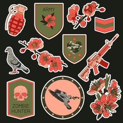 Set of military and army patches elements. Set of stickers, pins, patches and handwritten notes collection in cartoon 80s-90s comic style.Vector stikers kit