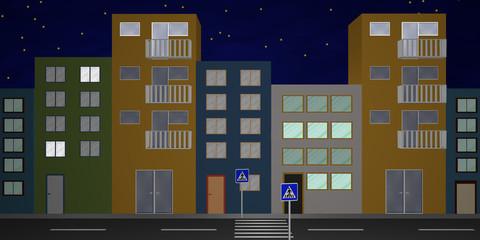 Häuserfront mit bunten Häusern, aus Vorderansicht