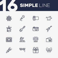 Set Of 16 Cocktail Outline Icons Set.Collection Of Stars, Camera, Bow And Other Elements.