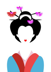 Portrait of Japanese or asian girl, traditional style with Japanese kimono, vector illustration isolated