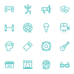 Set Of 16 Entertainment Outline Icons Set.Collection Of Game Controller, Film Role, Popcorn And Other Elements.
