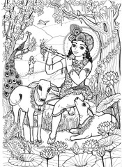 Lord Krishna the child of the cowherd boys plays the flute and the calves, the birds and the girl Radha listen to him in the spring jungle full of flowers.