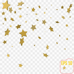 3d Gold stars. Confetti celebration, Falling golden abstract decoration for party, birthday celebrate, anniversary or event, festive. Festival decor. Vector illustration