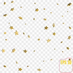golden stars are falling down. vector illustration