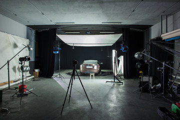 Photo Studio shooting with car and lighting