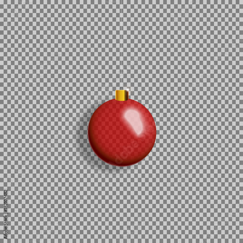 Eps 10 Christmas Decorations Isolated On Transparent Background Colorful Red Glass Ball Hanging In The