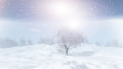 3D winter tree landscape