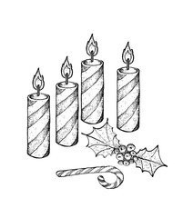 Four Christmas Candles with Holly Twigs and Candy Cane