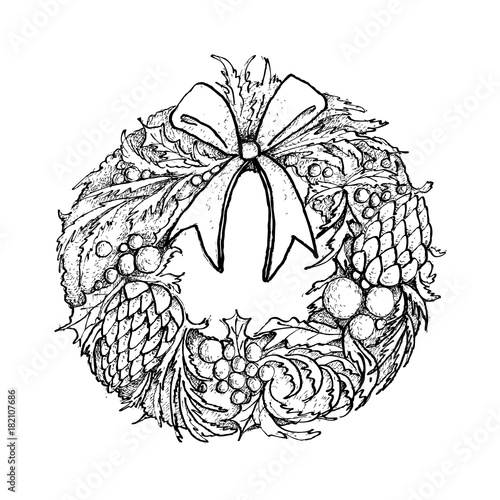 Drawings Of Christmas Wreaths.Hand Drawn Of Christmas Wreath With Decorations Stock Image