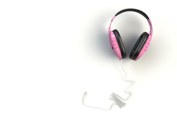 Pink headphones on white background, Top view with copyspace for your text, 3D rendering